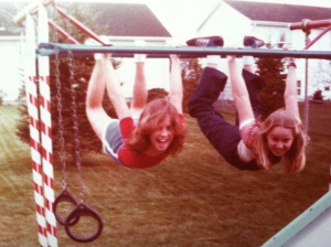 Me and a friend on her jungle gym, circa 1981.