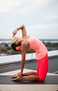 Shhhhh, just listen. Ushtrasana, Camel pose.